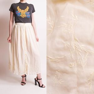 Vintage 80s floral embroidered cotton gauze skirt